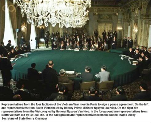 Hình (Corbis): Bốn phái đoàn họp để ký Hiệp Định Paris 1973. Trưởng phái đoàn Hoa Kỳ là Bộ Trưởng Ngoại Giao Henri Kissinger.Trưởng phái đoàn VNCH là Phó Thủ Tướng Nguyễn Lưu Viên.Trưởng phái đoàn CSBC là Ông Lê Đức Thọ. Trưởng phái đoàn MTGPMN là Tướng Nguyễn Văn Hiếu.