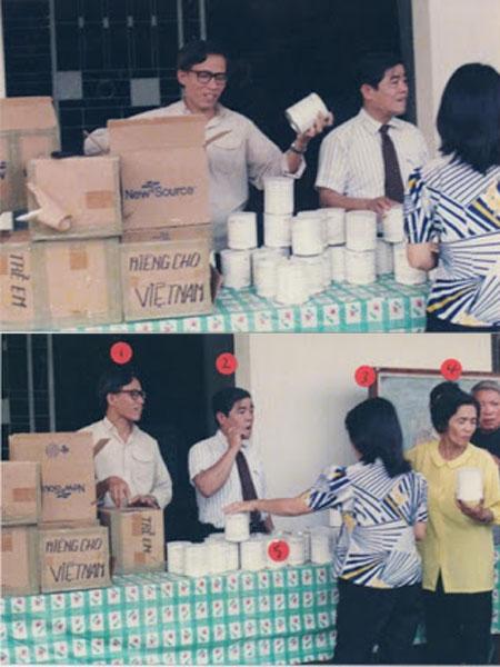 Ông Trần Tư đang cùng Lm. Cosma Hoàng Văn Đạt (người đeo kiếng) phát chẩn cho bệnh nhân tại trại phong Thanh Bình