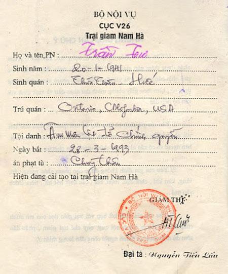 Giấy Thông báo chấp hành án tại trại giam Ba Sao, Nam Hà