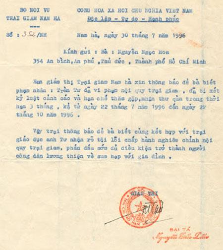 Giấy Thông báo kỷ luật  tại trại giam Ba Sao, Nam Hà
