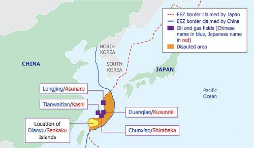 Hình (U.S. Department of Energy): Bản đồ tranh chấp lãnh hải giữa Trung Quốc và Nhật Bản.