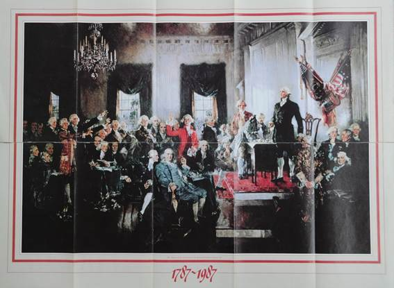 """Mặt trước của tờ quảng cáo in bức tranh """"Lễ ký Hiến pháp"""""""