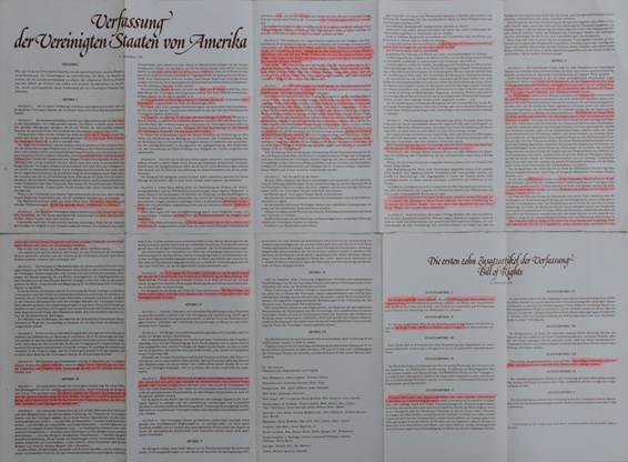 Mặt sau của tờ quảng cáo in Hiến pháp Mỹ (bản dịch tiếng Đức)