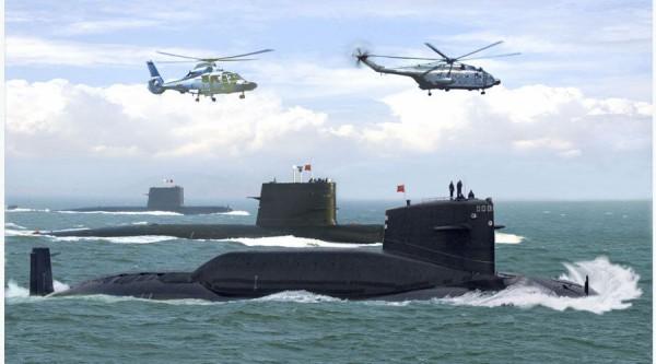 Hình (Xinhua): Hạm đội tầu ngầm của Trung Quốc. Bắc Kinh tăng cường hải quân nhằm thống trị Biển Đông.