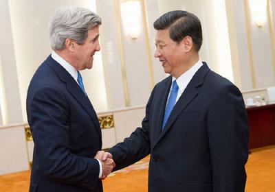 Ảnh: Chủ tịch Tập Cận Bình tiếp Bộ trưởng Ngoại giao Mỹ Kerry