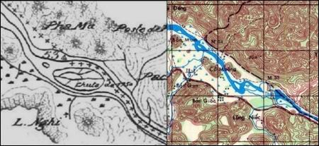 Hình 6 : So sánh bản đồ tại Bộ Ngoại giao Pháp và bản đồ Trùng Khánh6354-IV