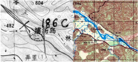 Hình 7: So sánh bản đồ do Trung Quốc cung cấp với bản đồ Trùng Khánh 6354-IV