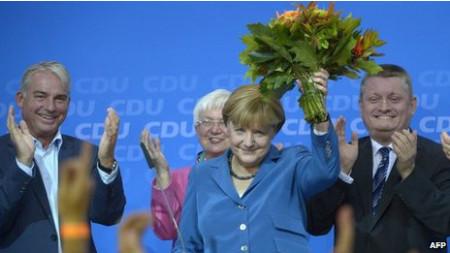 Bà Merkel chiến thắng. Ảnh AFP