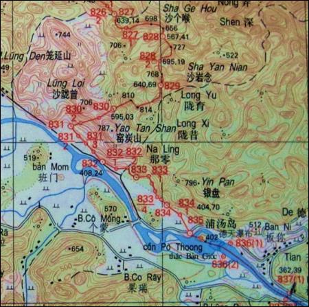 Hình 2: Bản đồ khu vực Thác Bản Giốc hiện nay. Cột mốc 835 chính là vị trí mới của cột mốc 53
