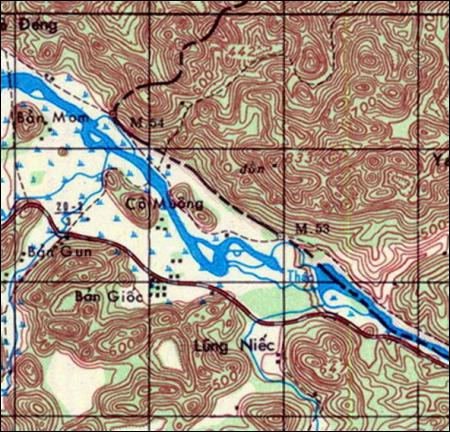 Hình 3: Vị trí nguyên thủy của cột mốc 53 (Trích bản đồ Trùng Khánh 6354-IV)