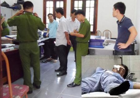 Hiện trường vụ xả súng (ảnh to) và nạn nhân Dương đang được điều trị ở bệnh viện (ảnh nhỏ)