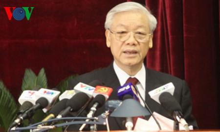 Tổng Bí thư phát biểu khai mạc Hội nghị Trung ương 8. Ảnh VOV.vn
