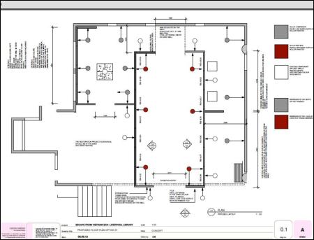 Sơ đồ thiết kế Phòng triển lãm (Nguồn: Liverpool City Library).