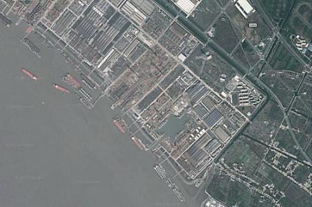 Xưởng đóng tàu ở Thượng Hải nơi chiếc tàu sân bay nội địa của Trung Quốc có thể đang được đóng - Ảnh: Google Maps.