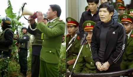 Đại tá dương Tự Trọng (em Dương Chí Dũng) trong chiến dịch cưỡng chế đầm nhà ông Đoàn Văn Vươn và ảnh trước tòa.