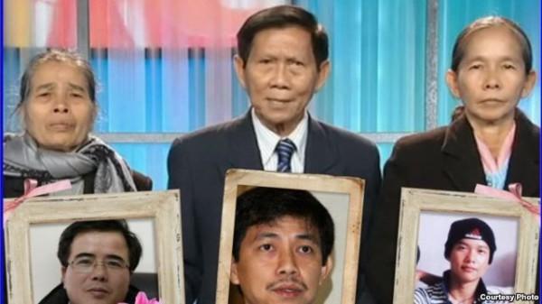 Từ trái: Bác Trâm (mẹ của Lê Quốc Quân), bác Huỳnh (cha của Trần Huỳnh Duy Thức) và bác Liên (mẹ của Đinh Nguyên Kha)
