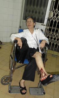 Bà Lê Hiền Đức (Ảnh chụp trong 1 lần bị bảo vệ xô ngã)