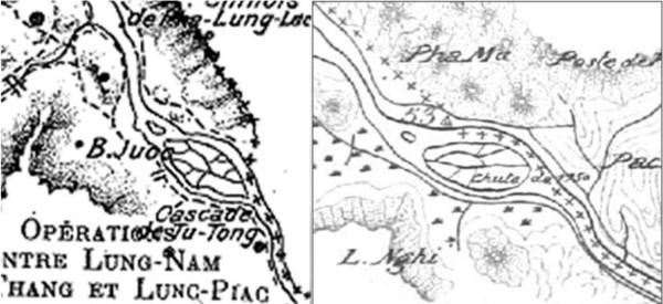 Hình 2: So sánh bản đồ của Famin (trái) và bản đồ tìm thấy tại Bộ Ngoại giao Pháp (phải).