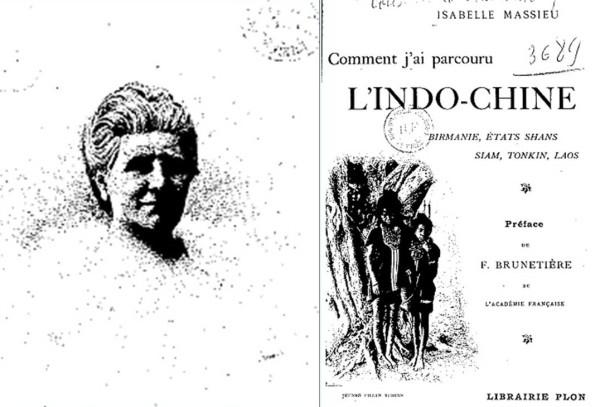 Hình 3: Bà Isabelle Massieu và bìa cuốn sách viết về chuyến du lịch bán đảo Trung-Ấn