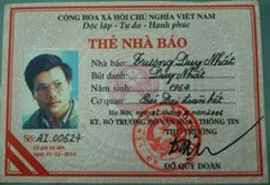 Thẻ nhà báo của Trương Duy Nhất. Ảnh: nhathonguyentrongtao Blog