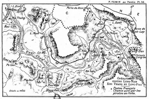 Hình 1: Bản đồ hành quân của quân Pháp chống toán cướp từ Trung Hoa sang.  Những chấm tròn màu đen là vị trí các trạm gác của quân Pháp