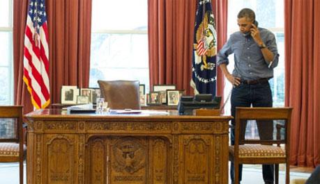 Tổng thống Mỹ Barack Obama điện đàm với người đồng cấp Nga Vladimir Putin về Ukraina hôm 1/3.