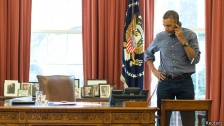 Ông Obama đã có cuộc điện đàm căng thẳng với ông Putin. Ảnh Reuters