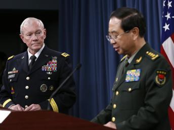 Tướng Martin Dempsey Tổng tham mưu trưởng Mỹ và người đồng nhiệm Trung Quốc, Phong Huy họp báo 15/5/2014