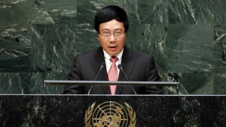 Ngoại trưởng Việt Nam Phạm Bình Minh phát biểu trước Đại Hội Đồng Liên Hiệp Quốc, ngày 27/09/2014. Ảnh Reuters