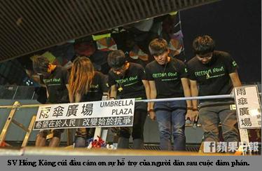 Sinh viên HK cảm tạ sự hỗ trợ của người dân trong cuộc đàm phán