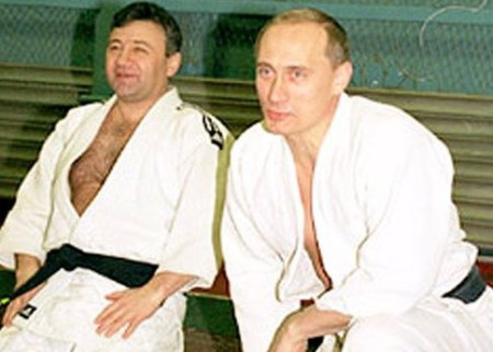 Rotenberg và Putin trong buổi tập judo