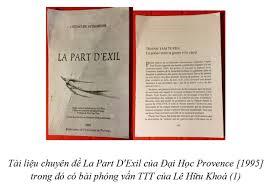 Tài liệu chuyên đề La Part D'Exil của Đại Học Provence [1995] trong đó có bài phỏng vấn TTT của Lê Hữu Khoá