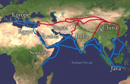[Hình d] Con đường tơ lụa từ Địa Trung Hải và Miến Điện, nối liền với đường biển phía Nam