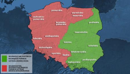 Ba Lan chia đôi: Nửa đỏ ủng hộ Komorowski, nửa xanh ủng hộ Duda.