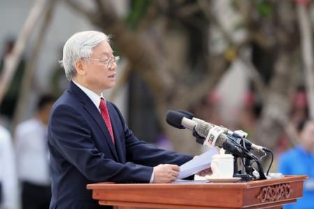 Tổng Bí thư Nguyễn Phú Trọng phát biểu tại Lễ khánh thành Tượng đài Chủ tịch Hồ Chí Minh. Ảnh: Hoàng Triều