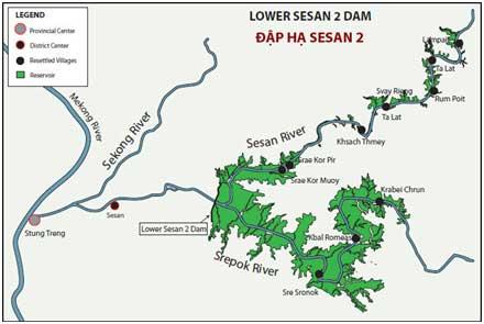 Hình IIIa: Mạng Lưới 3S, ba sông phụ lưu: Sekong, Sesan, Srepok cùng hội tụ đổ vào dòng chính sông Mekong [nguồn: Decarboni]