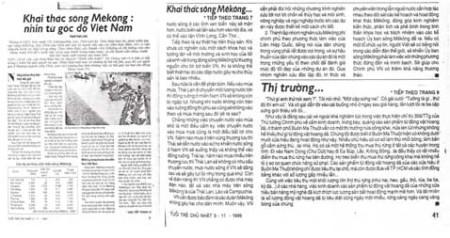 [Hính IV]: Khai thác sông Mekong: nhìn từ góc độ Việt Nam bài báo đăng trên Tuổi Trẻ Chủ Nhật 03-11-1996