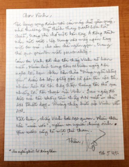 thư riêng gửi Ngô Thế Vinh, Feb 5,1996
