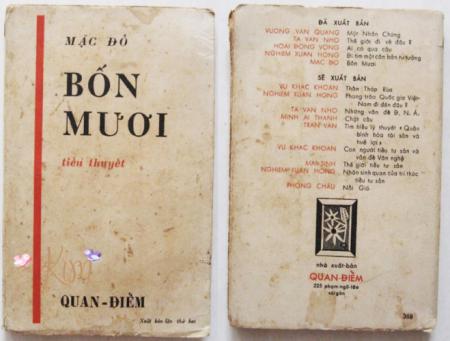 bìa tiểu thuyết Bốn Mươi của Mặc Đỗ, Nxb Quan Điểm, Sài Gòn 1957 [nguồn: internet]