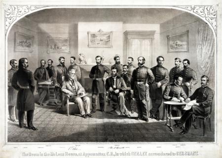 Nghi thức đầu hàng của Tướng Robert E. Lee (ngồi bên trái) tại Appomatox Court House Virginia, ngày 9-4-1865 (hình của The Major)