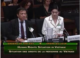 Ts. Nguyễn Đình Thắng vả̀ Cô Nguyễn Khuê-Tú tại buổi điều trần, ngả̀y 05/06/2015