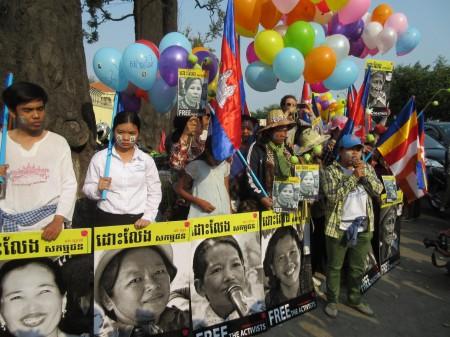 Người Cambodia biểu tình tại thủ đô Phnom Penh. Ảnh tư liệu của MIRO