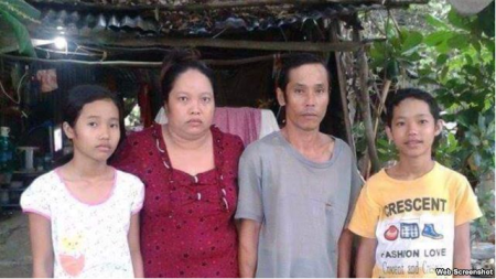 Sự việc liên quan tới gia đình em Nguyễn Mai Thảo Vy (ngoài cùng bên trái) rộ lên hồi tháng Tư vừa qua trong vụ phản kháng cưỡng chế đất đai ở huyện Thạnh Hóa, Long An. Ảnh và chú thích: VOA