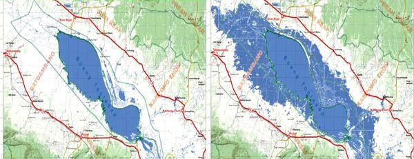Hình I: Một Biển Hồ thoi thóp, không còn co giãn với hai mùa mưa nắng,  đang co lại và cạn dần [nguồn: Tom Fawthrop]