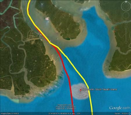Ấn đòi chia theo đường màu vàng; Banglades đòi chia theo đường màu đỏ