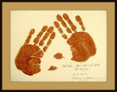 """In dấu tay Phùng Nguyễn, với dòng chữ: Bút tích """"Ước mơ của điều đã đi qua!""""  - Phùng Nguyễn, 01-17-2012 (nguồn: collection Phan Nguyên)"""