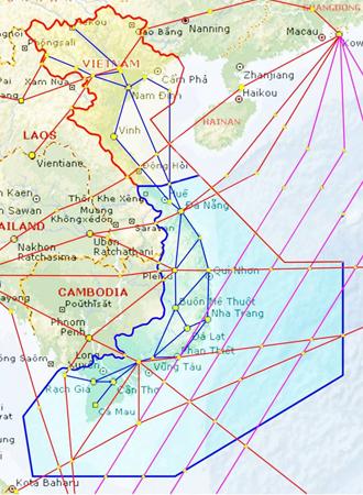 Vùng thông báo bay Hồ Chí Minh (vòng xanh) nằm sát khu vực quần đảo Trường Sa.