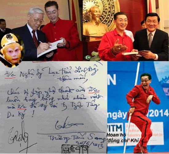 """Các ông Nguyễn Phú Trọng –Trương Tấn Sang tiếp kiến """"Vua Khỉ"""" màu đỏ."""