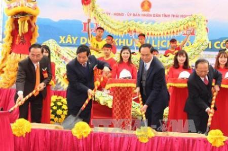 Ông Trần Đại Quang trong lễ động thổ xây khu du lịch tâm linh ở Hồ Núi Cốc tỉnh Thái Nguyên.