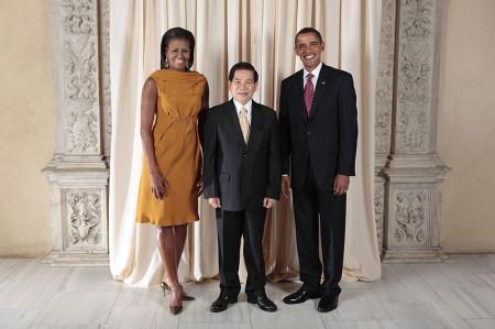 Chủ tich nước Nguyễn Minh Triết trong lần đến thăm nhà Trắng. Photo by Lawrence Jackson